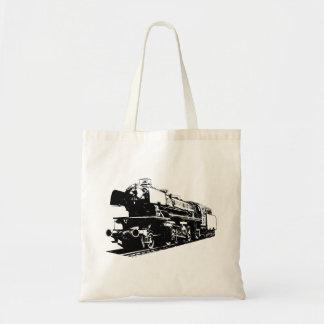 蒸気機関車-ハイコントラスト トートバッグ