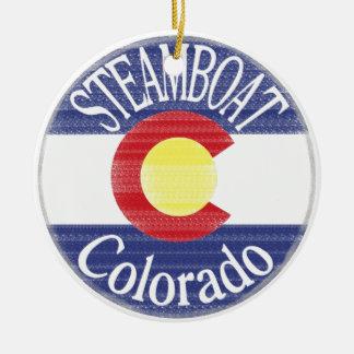 蒸気船のコロラド州の円の旗 セラミックオーナメント