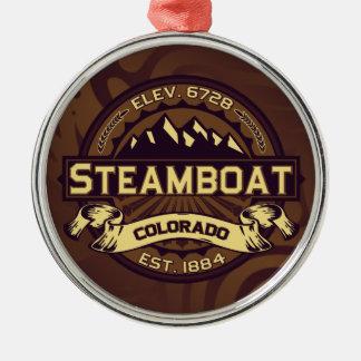 蒸気船のロゴのセピア色 メタルオーナメント