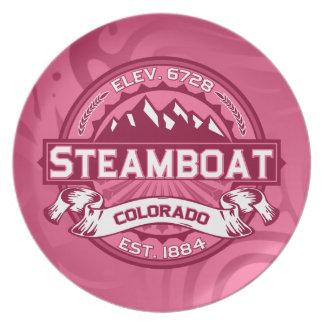 蒸気船のロゴのハニーサックル プレート