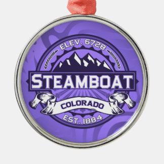 蒸気船のロゴのバイオレット メタルオーナメント