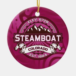 蒸気船のロゴのラズベリー セラミックオーナメント