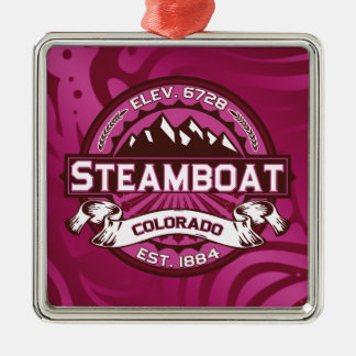 蒸気船のロゴのラズベリー メタルオーナメント