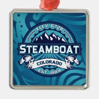 蒸気船のロゴの氷 メタルオーナメント