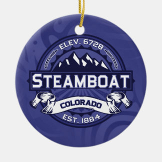 蒸気船のロゴの真夜中 セラミックオーナメント