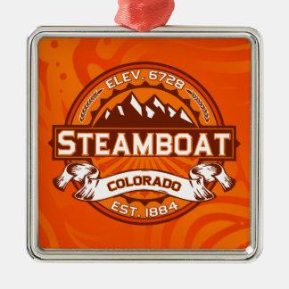 蒸気船のロゴの蜜柑 メタルオーナメント