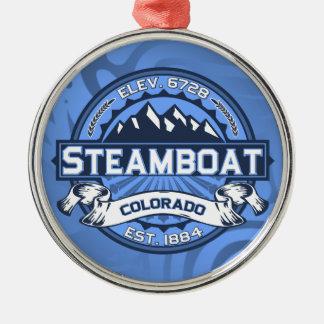 蒸気船のロゴの青 メタルオーナメント