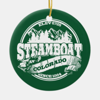 蒸気船の古い円の緑 セラミックオーナメント