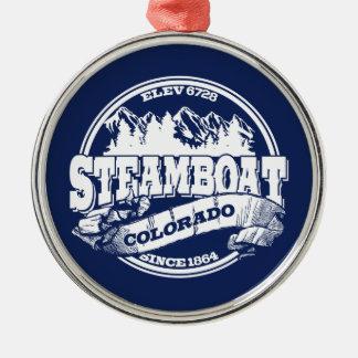 蒸気船の古い円の青 メタルオーナメント