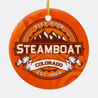 蒸気船色のロゴのオーナメント セラミックオーナメント