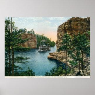 蒸気船、Wisconsin川のヴィンテージのデル ポスター