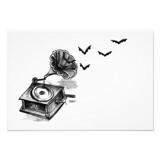 蓄音機およびこうもりの芸術のプリント(小さい) フォトプリント