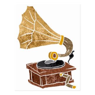 蓄音機を持つイラストレーション ポストカード