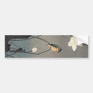 蓮にカワセミ、はす、Koson、Ukiyo-eの古邨のカワセミ バンパーステッカー