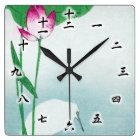 蓮に白鷺、小原古邨のはす及び白い鷲、Koson、Ukiyo-e スクエア壁時計