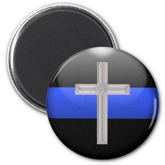 薄いブルーラインおよび水晶の安全祈りの言葉の十字 マグネット