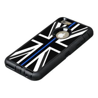 薄いブルーラインイギリスの旗 オッターボックスディフェンダーiPhoneケース