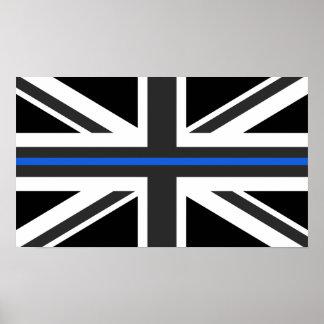 薄いブルーラインイギリスの旗 ポスター