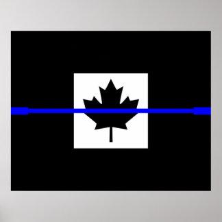 薄いブルーラインカナダ人の旗 ポスター