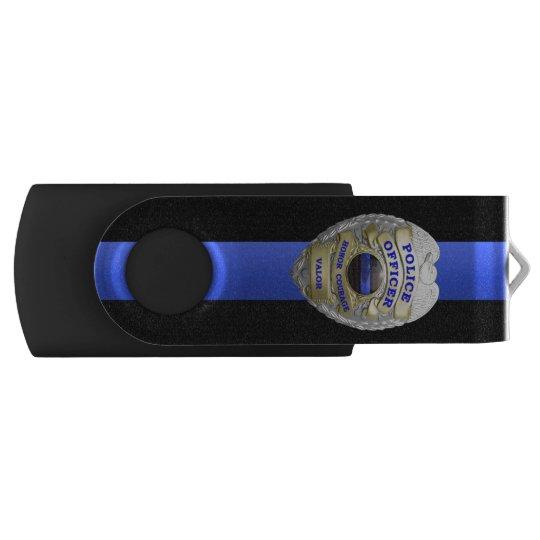 薄いブルーラインバッジ USBフラッシュドライブ