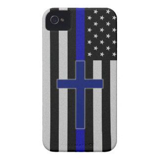 薄いブルーライン交差の青いiphone 4ケース Case-Mate iPhone 4 ケース