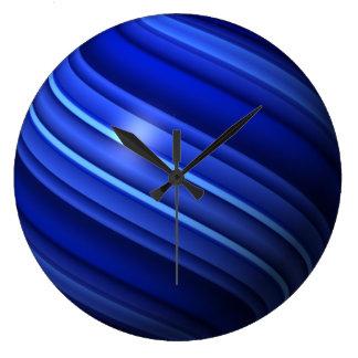 薄いブルーライン地球 ラージ壁時計