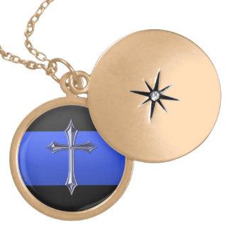 薄いブルーライン安全祈りの言葉のペンダント ゴールドプレートネックレス