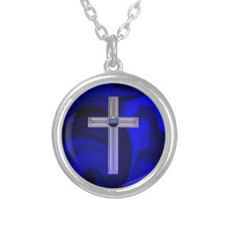 薄いブルーライン安全祈りの言葉のペンダント シルバープレートネックレス
