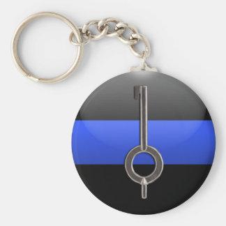 薄いブルーライン手錠の鍵 キーホルダー