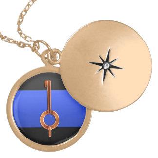薄いブルーライン手錠の鍵 ゴールドプレートネックレス