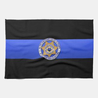 薄いブルーライン旗及びバッジ キッチンタオル