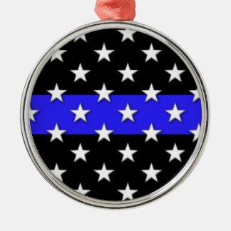 薄いブルーライン星条旗 メタルオーナメント