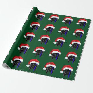 薄いブルーライン米国旗のスパルタ式のサンタの覆い ラッピングペーパー