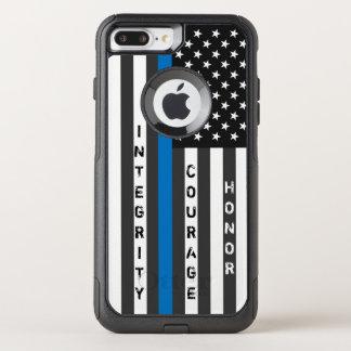 薄いブルーライン米国旗の名前入りな箱 オッターボックスコミューターiPhone 8 PLUS/7 PLUSケース
