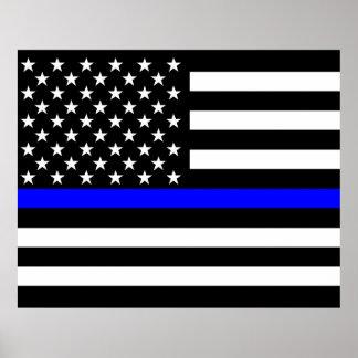 薄いブルーライン米国旗の装飾 ポスター