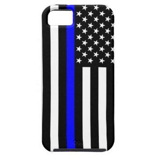 薄いブルーライン米国旗の装飾 iPhone SE/5/5s ケース