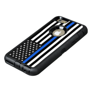 薄いブルーライン米国旗 オッターボックスディフェンダーiPhoneケース