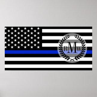 薄いブルーライン米国旗 ポスター
