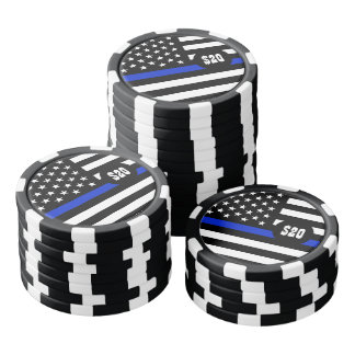 薄いブルーライン米国旗 ポーカーチップ