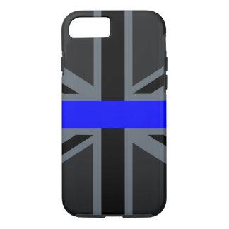 薄いブルーライン英国国旗の装飾 iPhone 8/7ケース