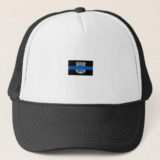 薄いブルーライン落ちたな役人のバッジのトラック運転手の帽子 キャップ