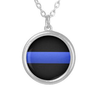 薄いブルーライン警察サポータ シルバープレートネックレス