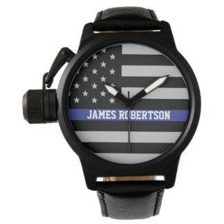 薄いブルーライン-名前入りな米国旗 腕時計