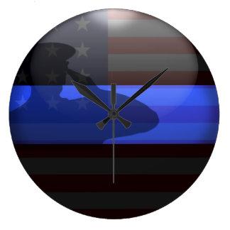 薄いブルーライン-国旗敬礼 ラージ壁時計