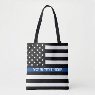 薄いブルーライン-米国旗のトートバック トートバッグ