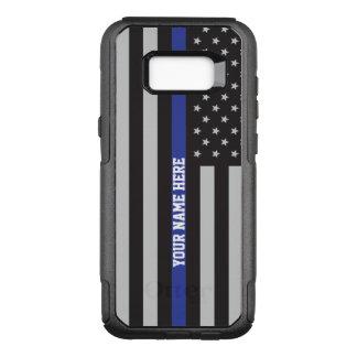 薄いブルーライン-米国旗の名前入りなカスタム オッターボックスコミューターSamsung GALAXY S8+ ケース