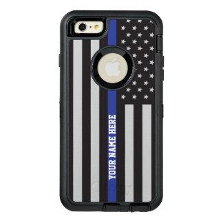 薄いブルーライン-米国旗の名前入りなカスタム オッターボックスディフェンダーiPhoneケース