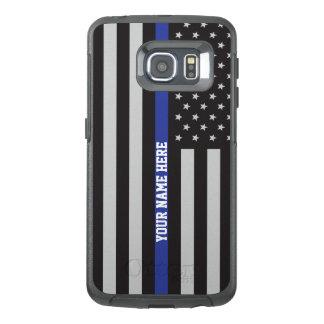 薄いブルーライン-米国旗の名前入りなカスタム オッターボックスSamsung GALAXY S6 EDGEケース