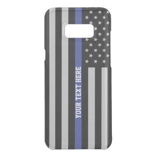 薄いブルーライン-米国旗の名前入りなカスタム ケース