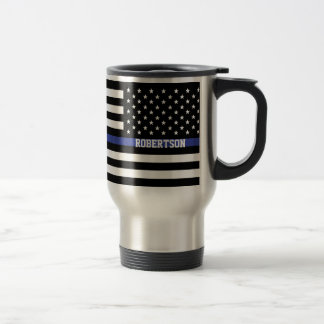 薄いブルーライン-米国旗の名前入りなカスタム トラベルマグ
